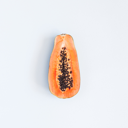 Photo for Papaya on pastel gray background. Summer concept. Flat lay, top view, square - Royalty Free Image