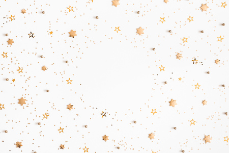 Photo for Christmas composition. Christmas golden decorations on white background. Flat lay, top view, copy space - Royalty Free Image