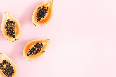 Photo for Summer fruits. Papaya on pink background. Summer concept. Flat lay, top view, copy space - Royalty Free Image