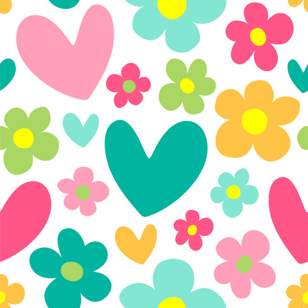 Illustration pour Cute background with hearts and flowers seamless vector pattern. - image libre de droit