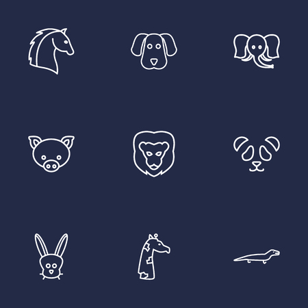 Set Of 9 graphic Beast Outline Icons Set.Collection Of Dog, Giraffe, Rabbit And Other Elements.