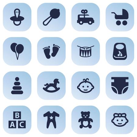 Ilustración de Set Of 16 Baby Icons Set.Collection Of Breastplate, Decoration, Nappy And Other Elements. - Imagen libre de derechos