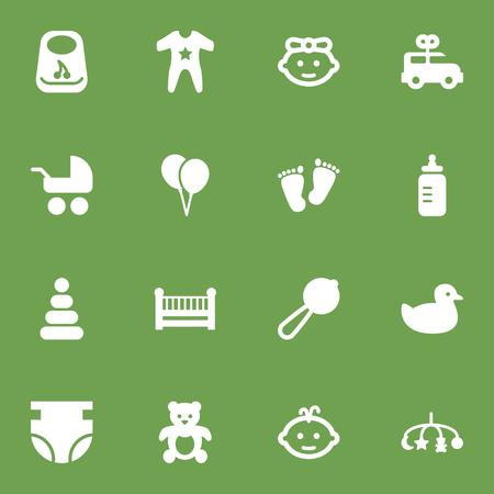 Ilustración de Set Of 16 Child Icons Set.Collection Of Toy, Cot, Bus And Other Elements. - Imagen libre de derechos