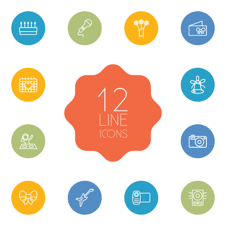 Set Of 12 Party Outline Icons Set.Collection Of Bow, Flower, Decorative And Other Elements.