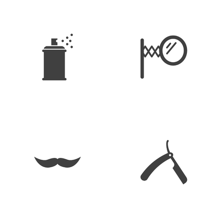 Illustrazione per Set of 4 barbershop icons set. Collection of straight razor, mirror, spray and other elements. - Immagini Royalty Free