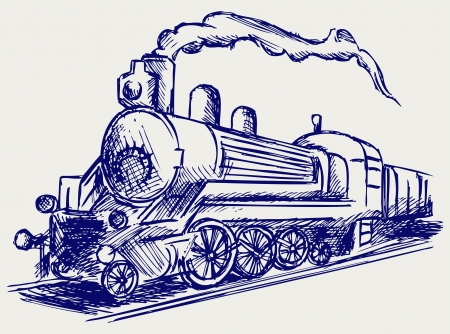 Steam train with smoke. Doodle style