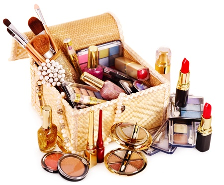Decorative cosmetics in makeup box.