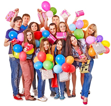 Photo for Group people with balloon on party. Isolated. - Royalty Free Image