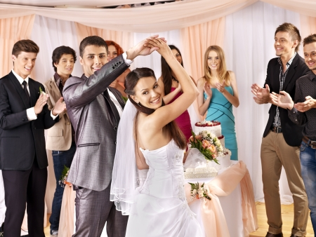 Foto de Happy group people at wedding dance. - Imagen libre de derechos