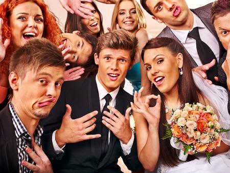 Foto de Bride and groom in photobooth. Wedding. - Imagen libre de derechos