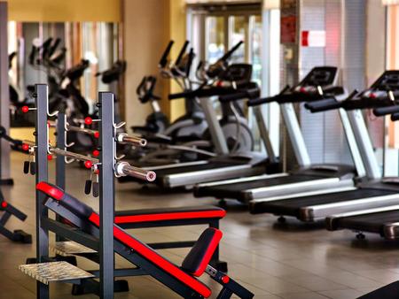 Foto de Sport gym interior with treadmill equipment. - Imagen libre de derechos