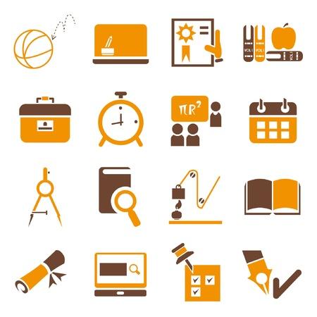 Illustration pour school icons set, orange theme - image libre de droit
