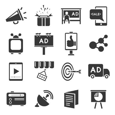 Ilustración de advertising icons set, marketing concept - Imagen libre de derechos