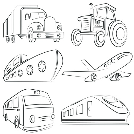 sketched car, truck set, transportation