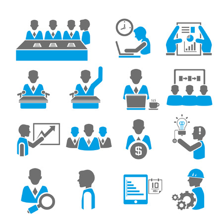 Illustration for office and business icon set, blue theme - Royalty Free Image