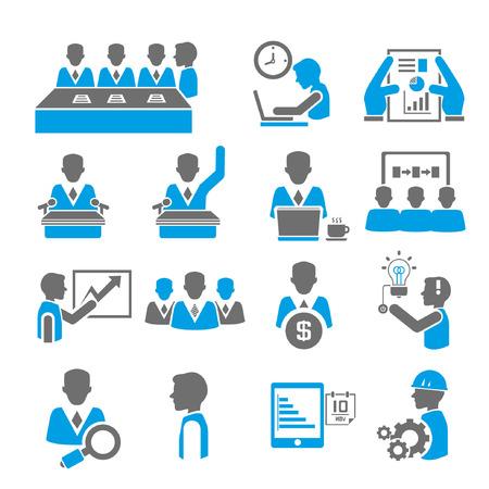 Illustration pour office and business icon set, blue theme - image libre de droit