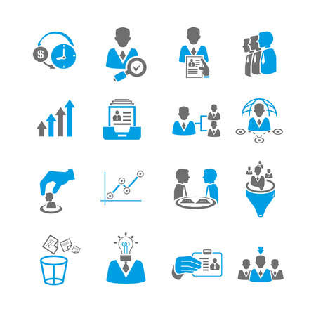 Ilustración de office and business management icon set, blue theme - Imagen libre de derechos
