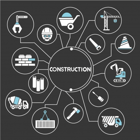 Photo for construction network, mind mapping, info graphic - Royalty Free Image