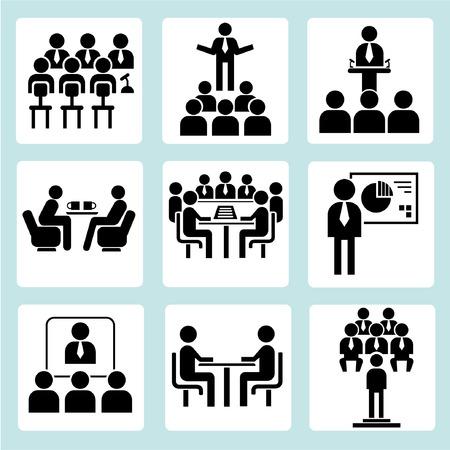 Ilustración de meeting icons - Imagen libre de derechos