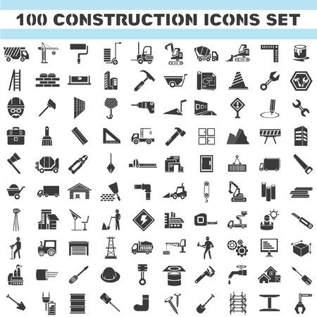 Illustration pour construction icons set, 100 icons, engineering tools icons - image libre de droit