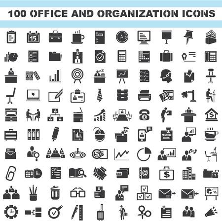 Ilustración de office and organization icons, business icons set, 100 icons - Imagen libre de derechos