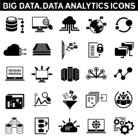 Illustration pour big data icon set, data analytic icon set, information technology icons, cloud computing icons  - image libre de droit