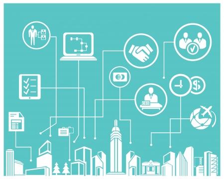 Illustration pour business system and business management info graphic, blue background - image libre de droit