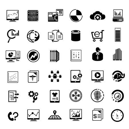 Illustration pour big data management icons set, information technology buttons - image libre de droit