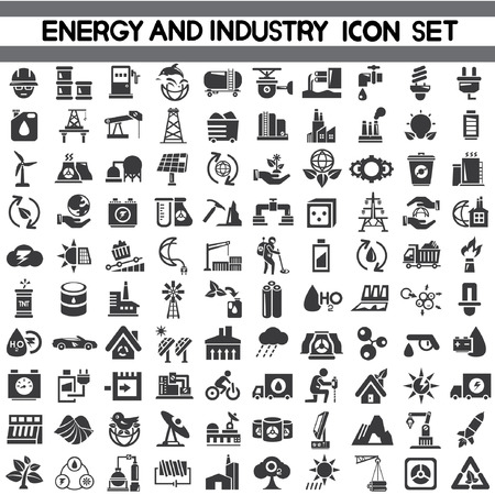 Illustration pour energy icons, industry icons, go green icons, save energy icons, vector - image libre de droit