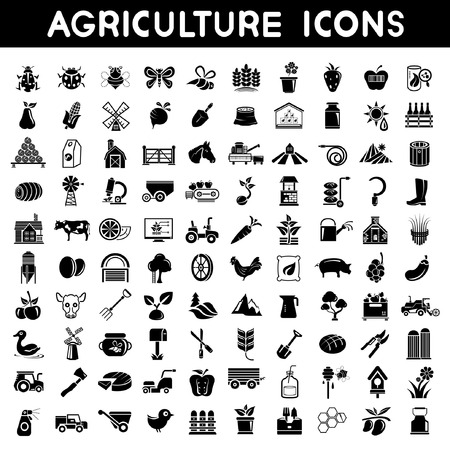 agriculture icons set, farm icons set