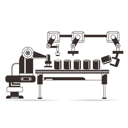 Illustration pour manufacturing concept production line - image libre de droit