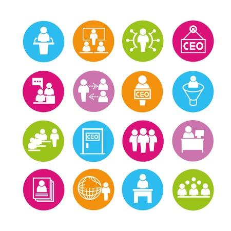 Ilustración de organization management icons - Imagen libre de derechos