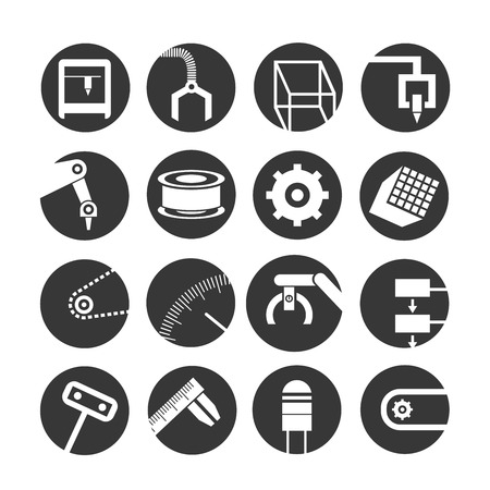 Illustration pour robot and automation icons - image libre de droit