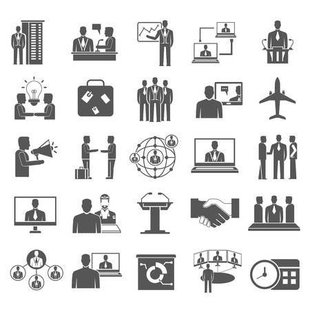 Illustration for business meeting icons - Royalty Free Image