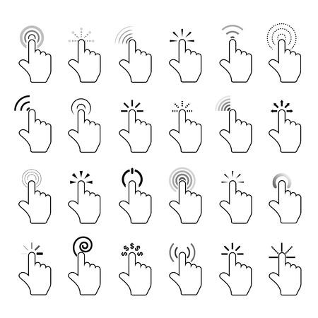 Illustration pour click icons, hand click icons - image libre de droit