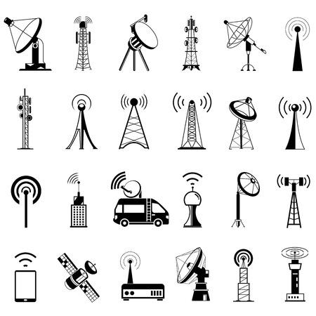 Illustration pour communication tower icons, satellite dishes, antenna - image libre de droit