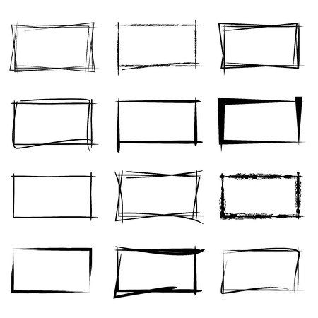 Illustration pour grunge rectangle frames - image libre de droit