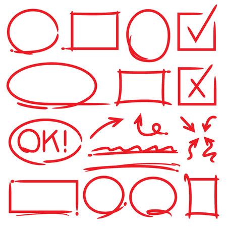 Ilustración de arrows and highlighting elements, check marks - Imagen libre de derechos