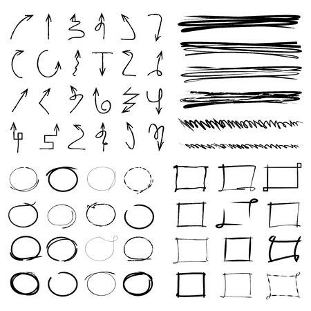 Illustration pour highlight and marker elements, arrows, underlines, grunge circles - image libre de droit