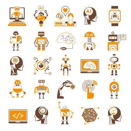 Illustration pour Artificial Intelligence icons, robot icons - image libre de droit