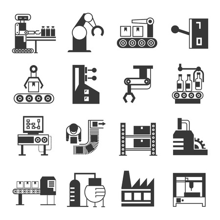 Illustration pour robot and manufacturing icons - image libre de droit