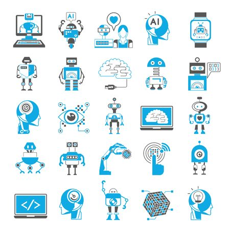 Illustration pour artificial intelligence icons - image libre de droit