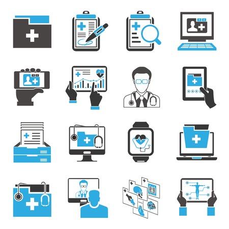 Ilustración de medical data icons - Imagen libre de derechos