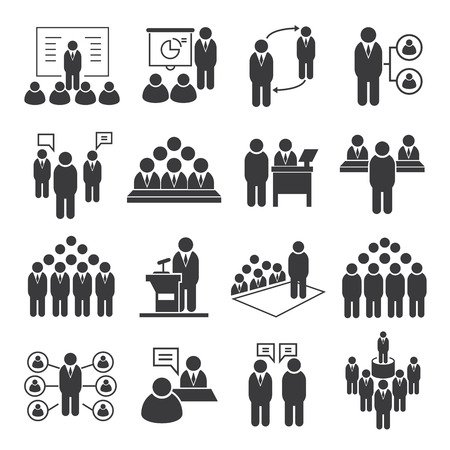 Illustration pour business meeting icons, conference icons - image libre de droit