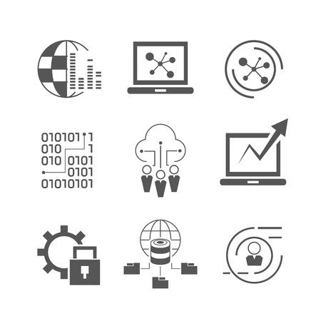 Illustration pour data analytics, network icons - image libre de droit
