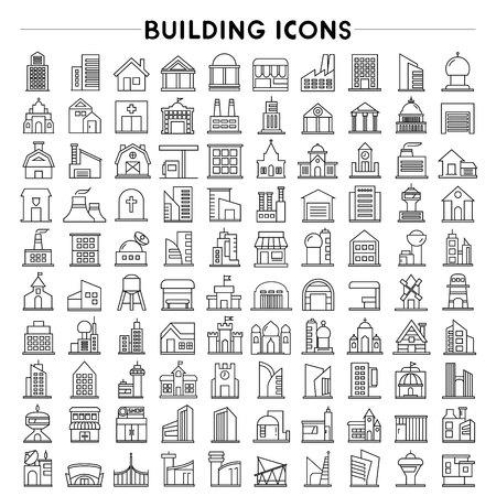 Illustration pour building and real estate icons, outline icons - image libre de droit
