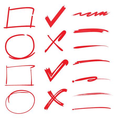 Illustration pour check marks, ticks, underlines, circles rectangle highlighter - image libre de droit