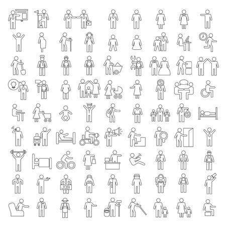 Ilustración de people icons, family icons - Imagen libre de derechos