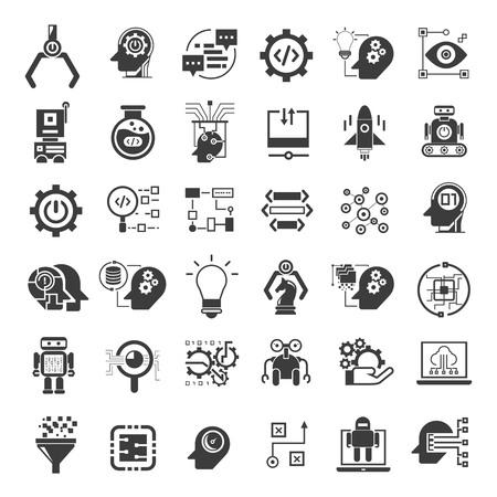 Illustration pour robotics and artificial intelligence icons - image libre de droit