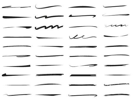 Ilustración de set of hand drawn underlines, brush line set - Imagen libre de derechos